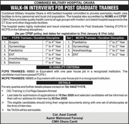 Medical Jobs in Combined Military Hospital Okara