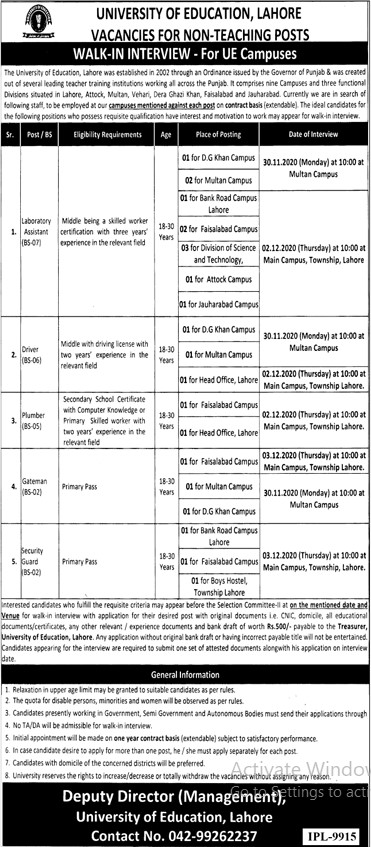 Non Teaching Staff Required in University of Education Lahore