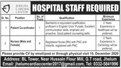 Nurses Required in Jhelum Cardiac Center Jhelum
