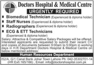 Nurses and Medical Staff Required in Doctor Hospital Lahore