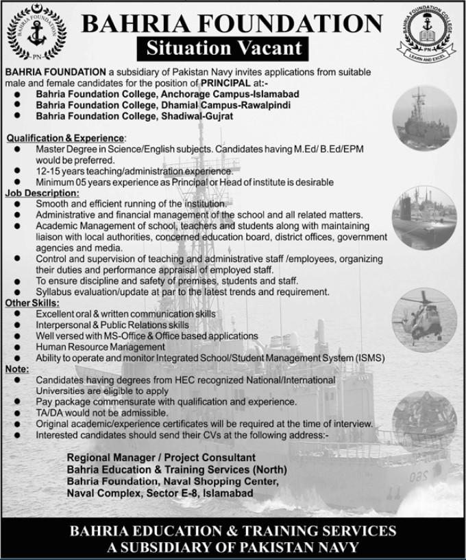 Principal Jobs in Bahria Foundation Rawalpindi-Islamabad