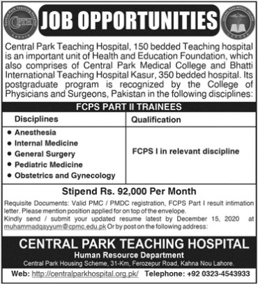 Specialist Doctors Jobs in Central Park Teaching Hospital Lahore