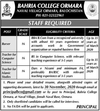 Staff Required in Bahria College Ormara Balochistan