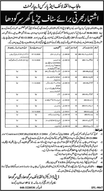 Staff Required in Zoo Sargodha Punjab Wild Life and Parks Department