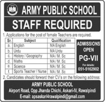 Teacher Staff Required in Army Public School Rawalpindi