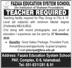 Teachers Required in Fazaia Education System School