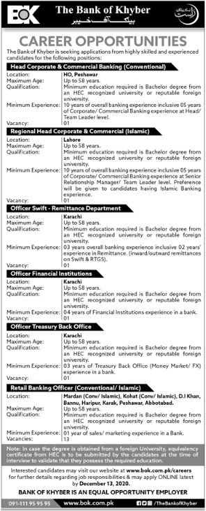 The Bank of Khyber Jobs in Lahore, Karachi and Peshawar