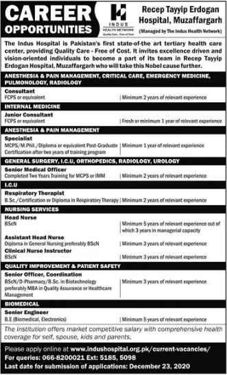 Doctors & Nurses Required at Tayyip Erdogan Hospital Muzaffargarh