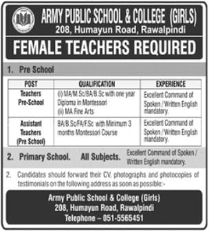 Female Teachers Required in Army Public School and College Rawalpindi