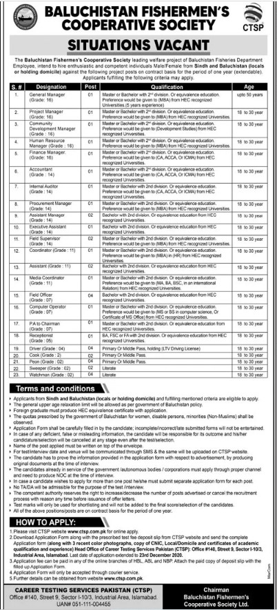 Jobs Available in Baluchistan Fishermen's Cooperative Society