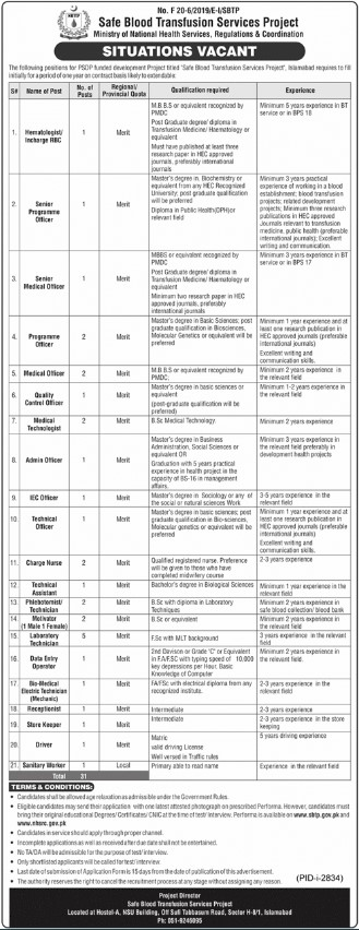 Jobs in Safe Blood Transfusion Service Project Islamabad