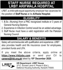 Nurses Staff Required at LRBT Arifwala Hospital