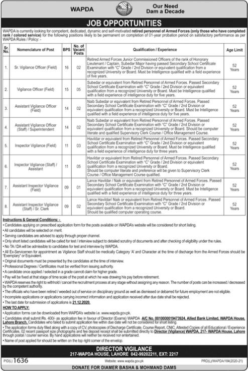 Officer and Clerk Jobs in WAPDA Lahore
