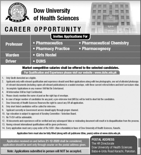 Professor Jobs in Dow University of Health Science Karachi