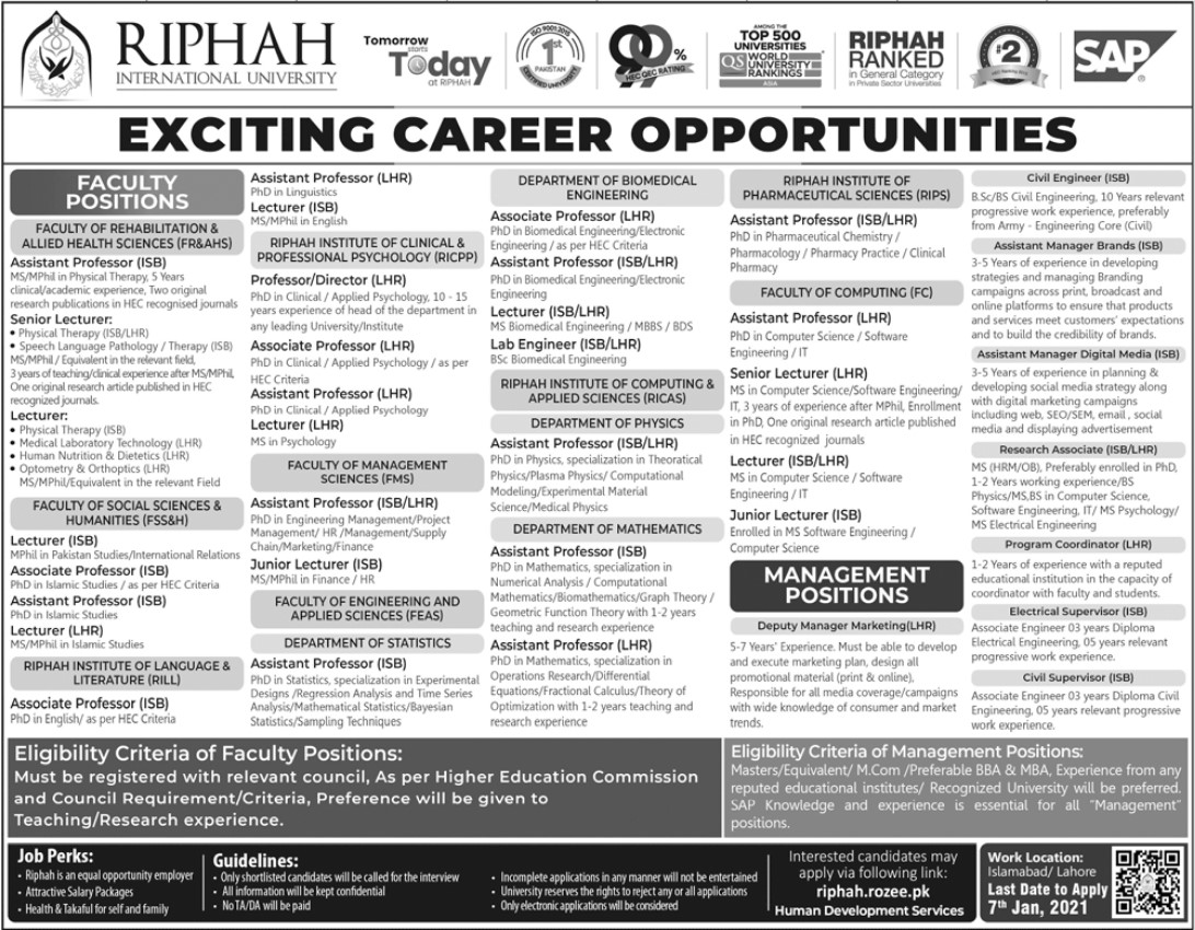 RIPHAH international University Exciting Career Opportunities 2010