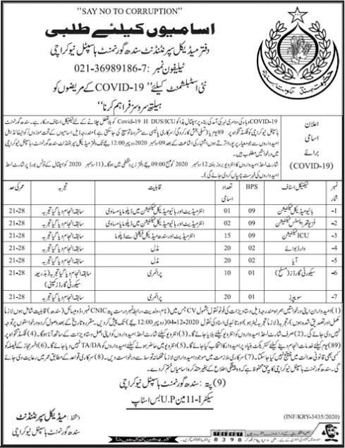 Sindh Government Hospital Jobs in New Karachi