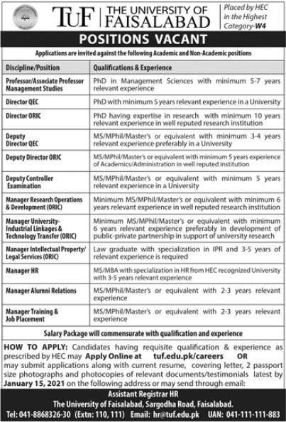 University Jobs Opportunities in The University of Faisalabad
