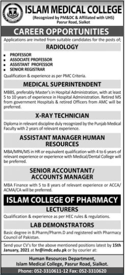 Career Opportunities in Islam Medical College Lahore