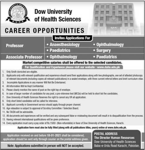 Career Opportunities in Dow University of Health Sciences Karachi