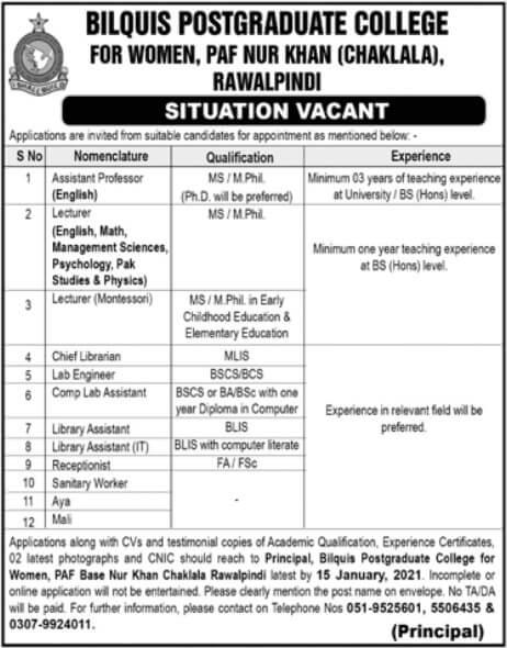 College Staff Required in Bilquis PostGraduate College Rawalpindi