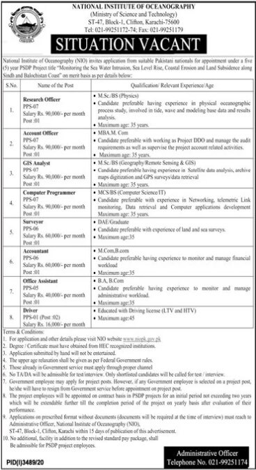 Government Jobs in National Institute of Oceanography Pakistan NIO