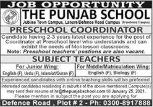 Teaching Jobs Opportunities - The Punjab School Lahore 2021