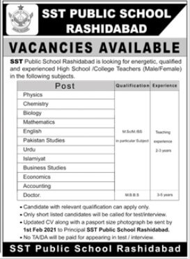 Teaching Jobs in SST Public School Rashidabad Sindh